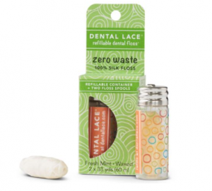 compostable vegan dental floss made of PLA with glass dispenser
