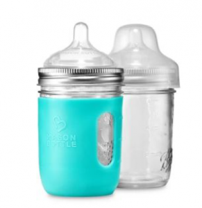 glass mason jars with nipple top, cap, and turquoise silicone sleeve
