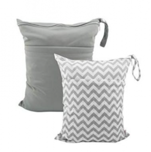 gray and gray and white reusable wet/dry bags