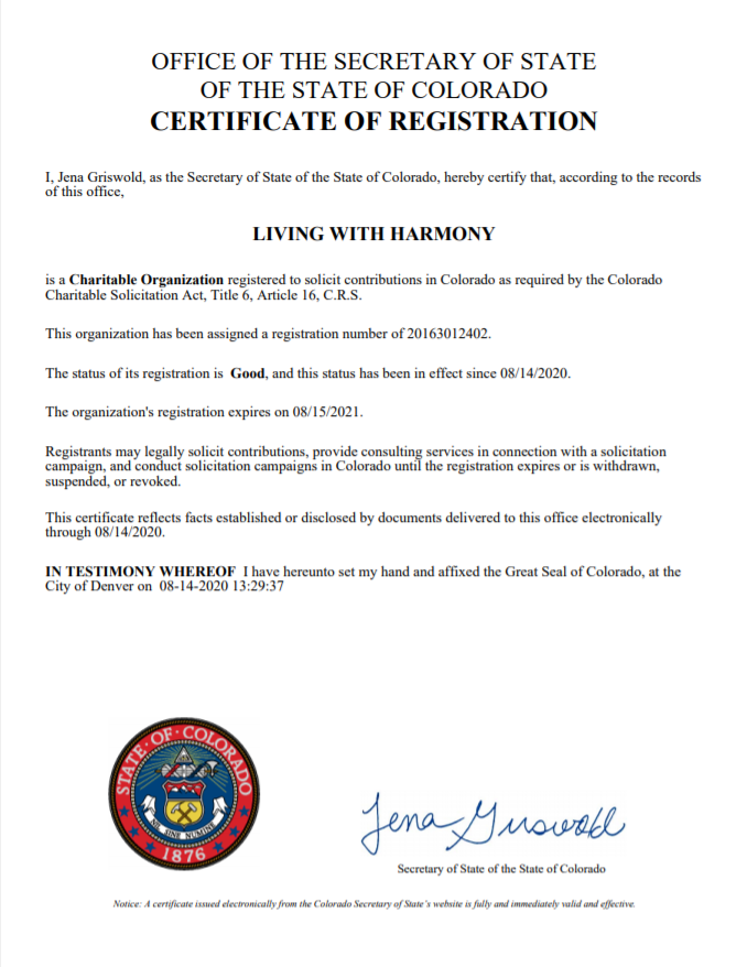 Image of Signed Non-profit documentation of good standing by the state of Colorado